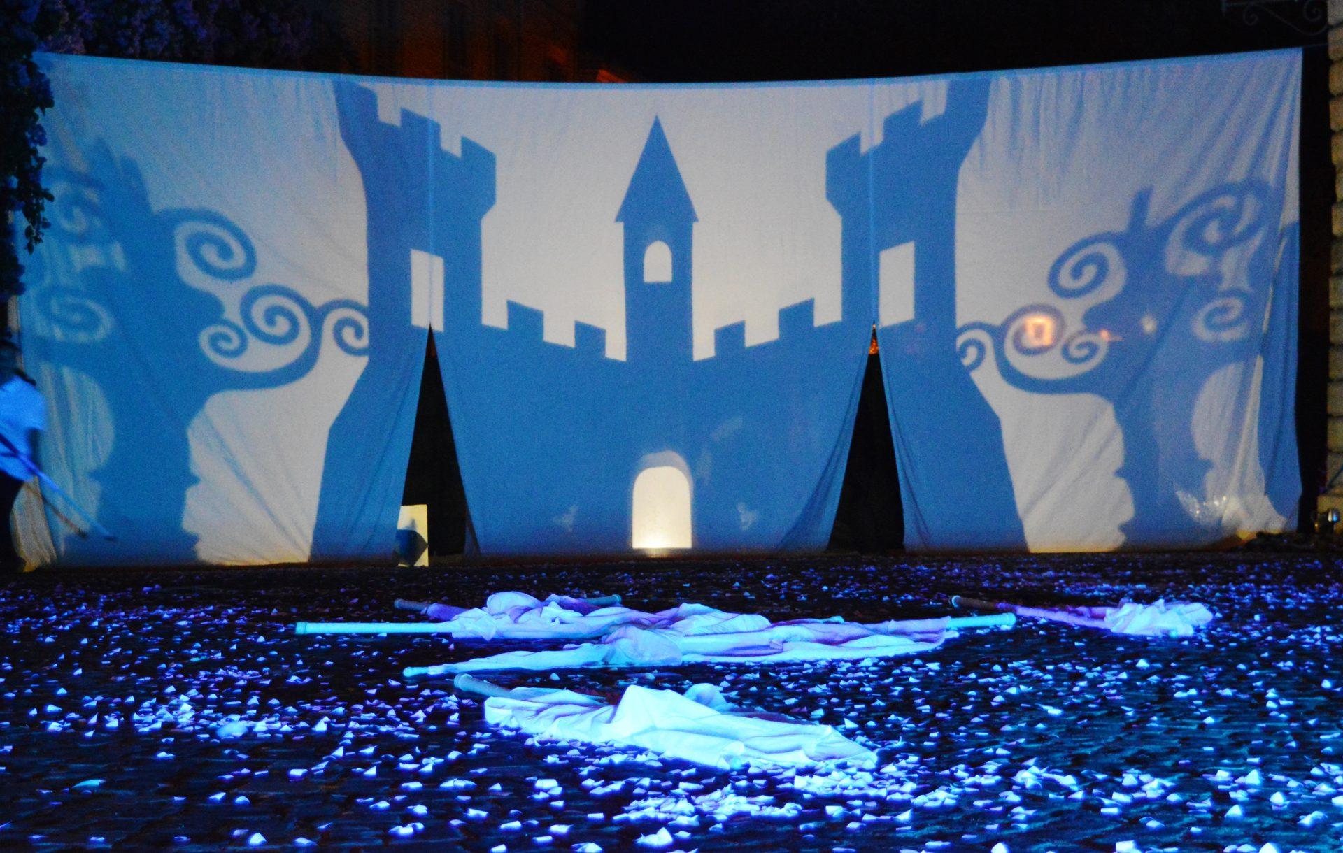 Impianto scenografico dello spettacolo, realizzato con ombre proiettate su telo bianco