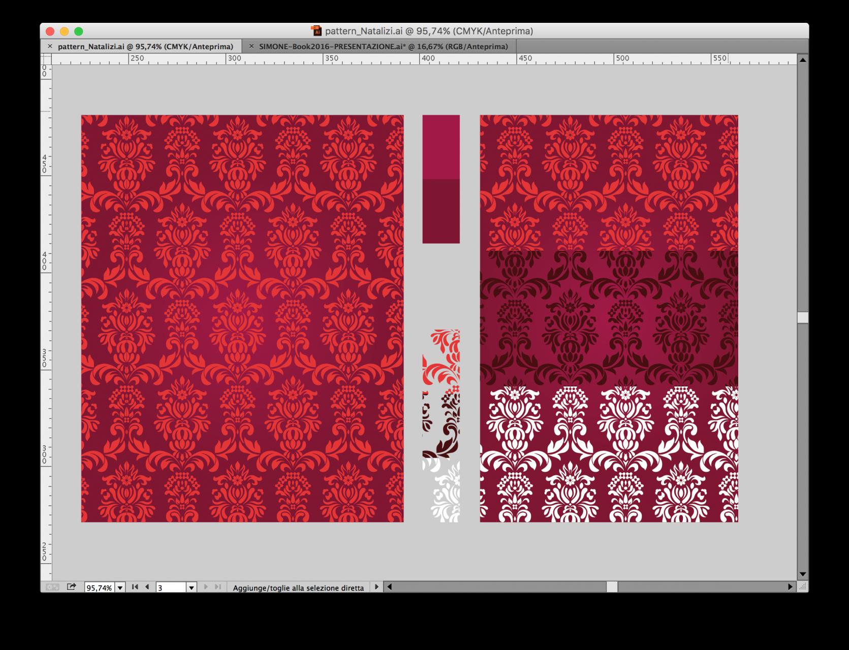 Prove cromatiche del pattern.