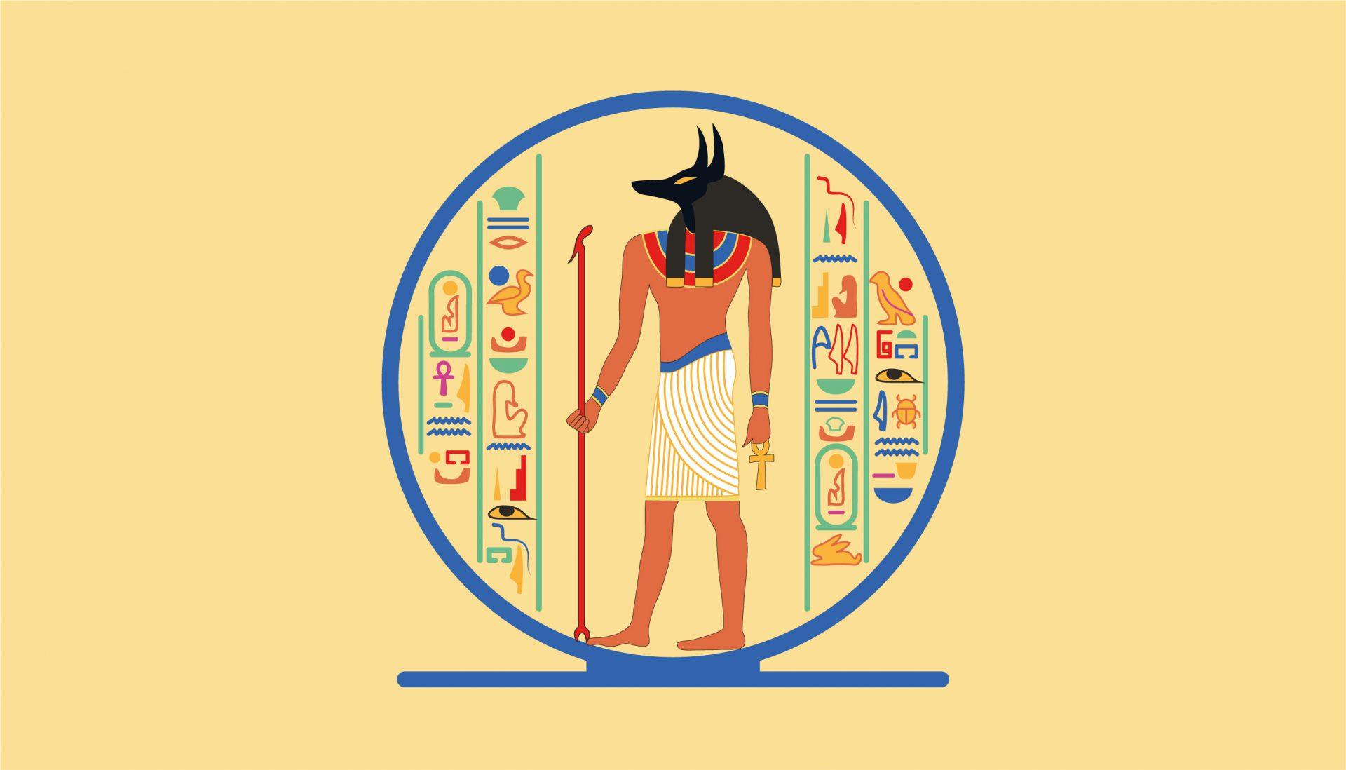 Elaborazione grafica ispirata ai geroglifici dell'Antico Egitto